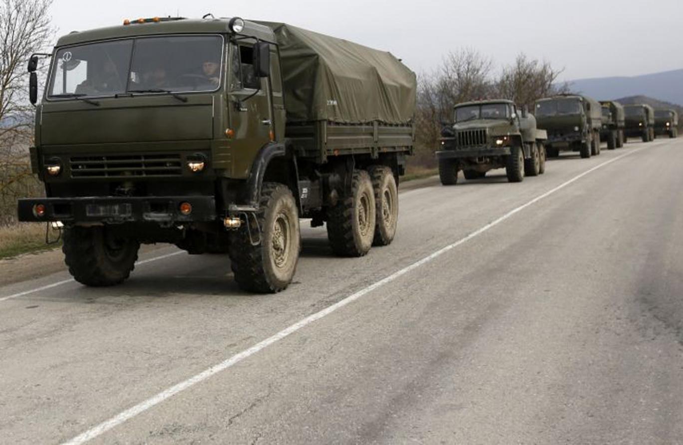 Convoy on the road from Feodosia to Simferopol