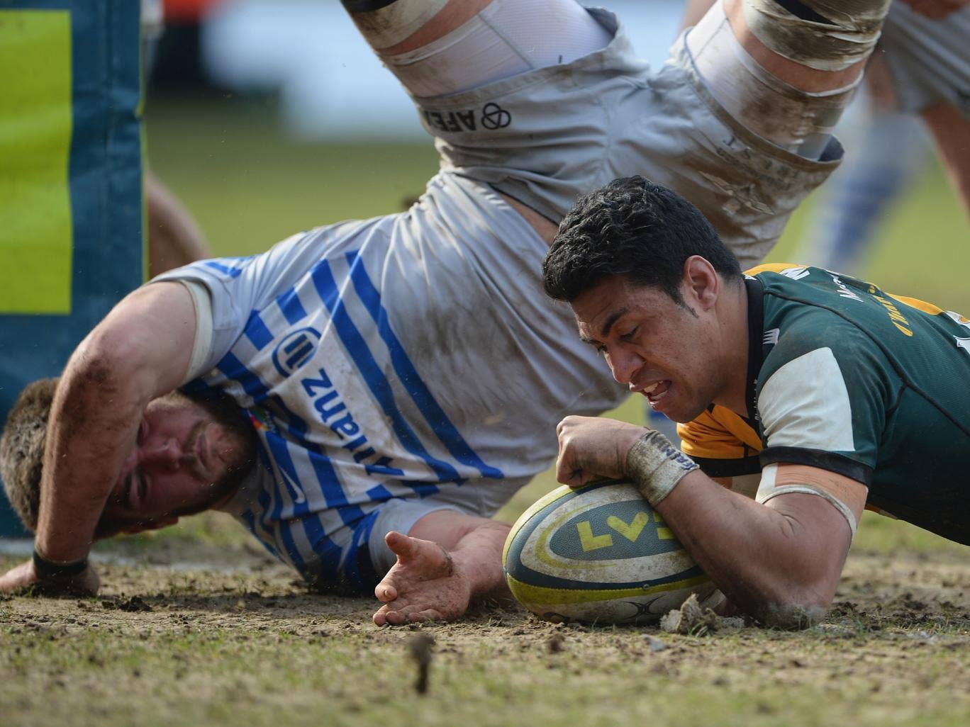 Northampton Saints centre George Pisi scores in the LV=Cup semi-final win over Saracens