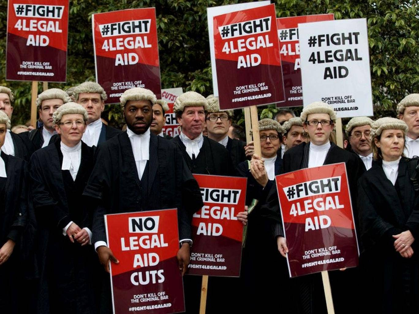 Barristers and solicitors protesting outside Parliament last week