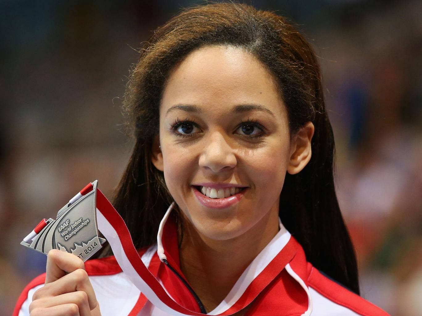 Britain's Katarina Johnson-Thompson poses with her silver medal in the Women's Long Jump