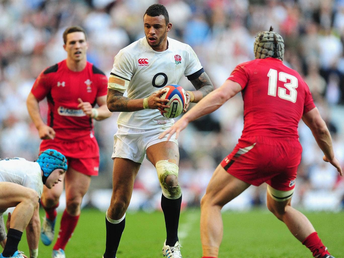 England's Courtney Lawes charges forward