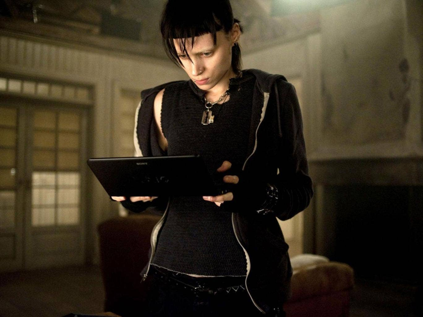 Rooney Mara as Lisbeth Salander in the film version of Girl with a Dragon Tattoo
