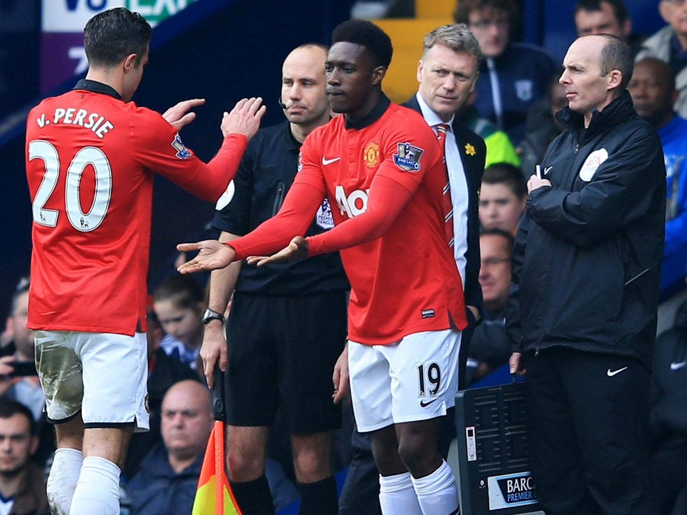 Danny Welbeck, centre, replaces Robin van Persie, left, at West Bromwich
