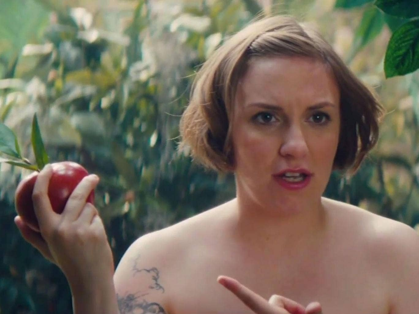 Lena Dunham stripped to her birthday suit to play Eve in a Girls spoof on Saturday Night Live
