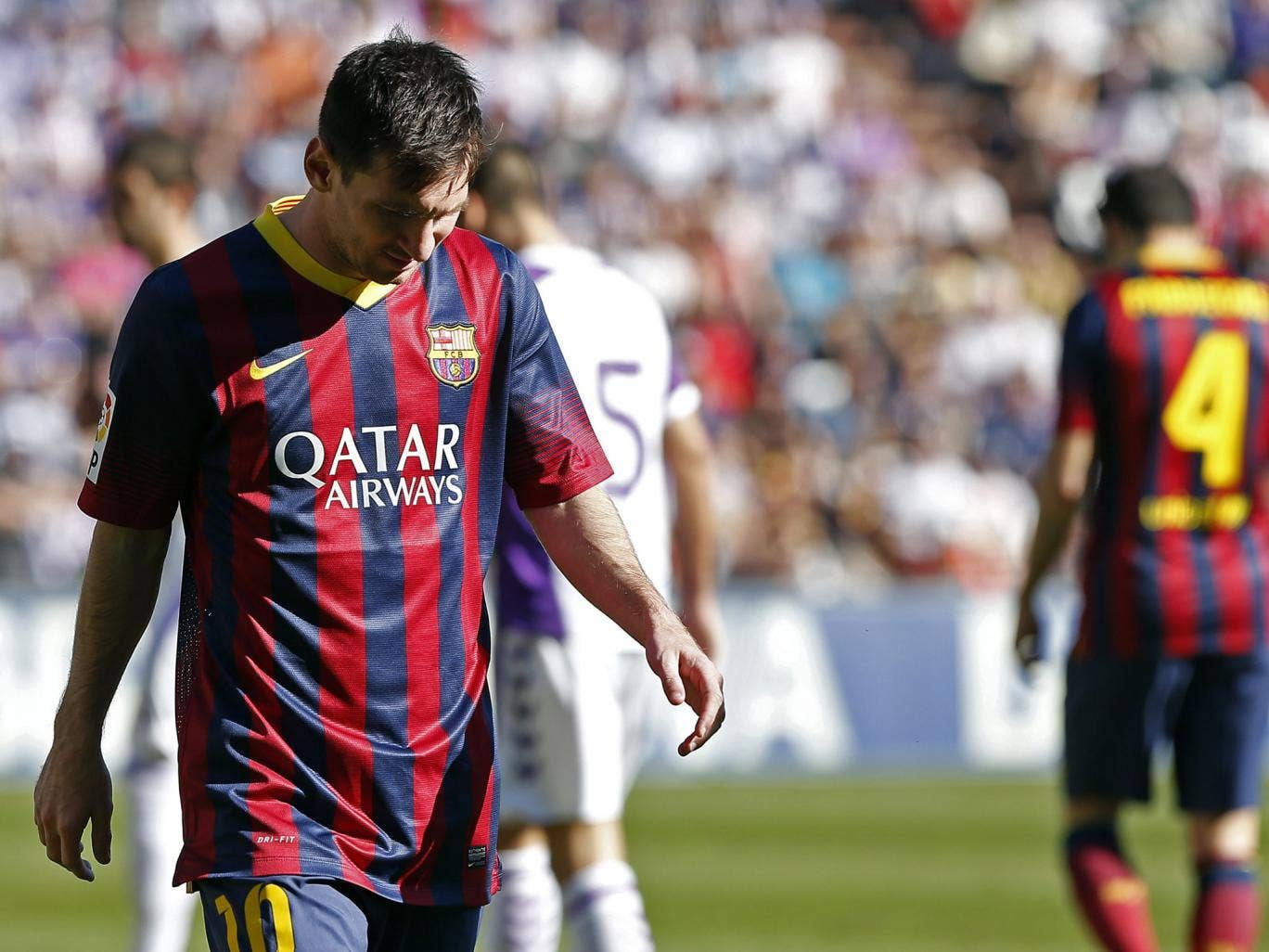 Lionel Messi pictured during Barcelona's defeat to Valladolid
