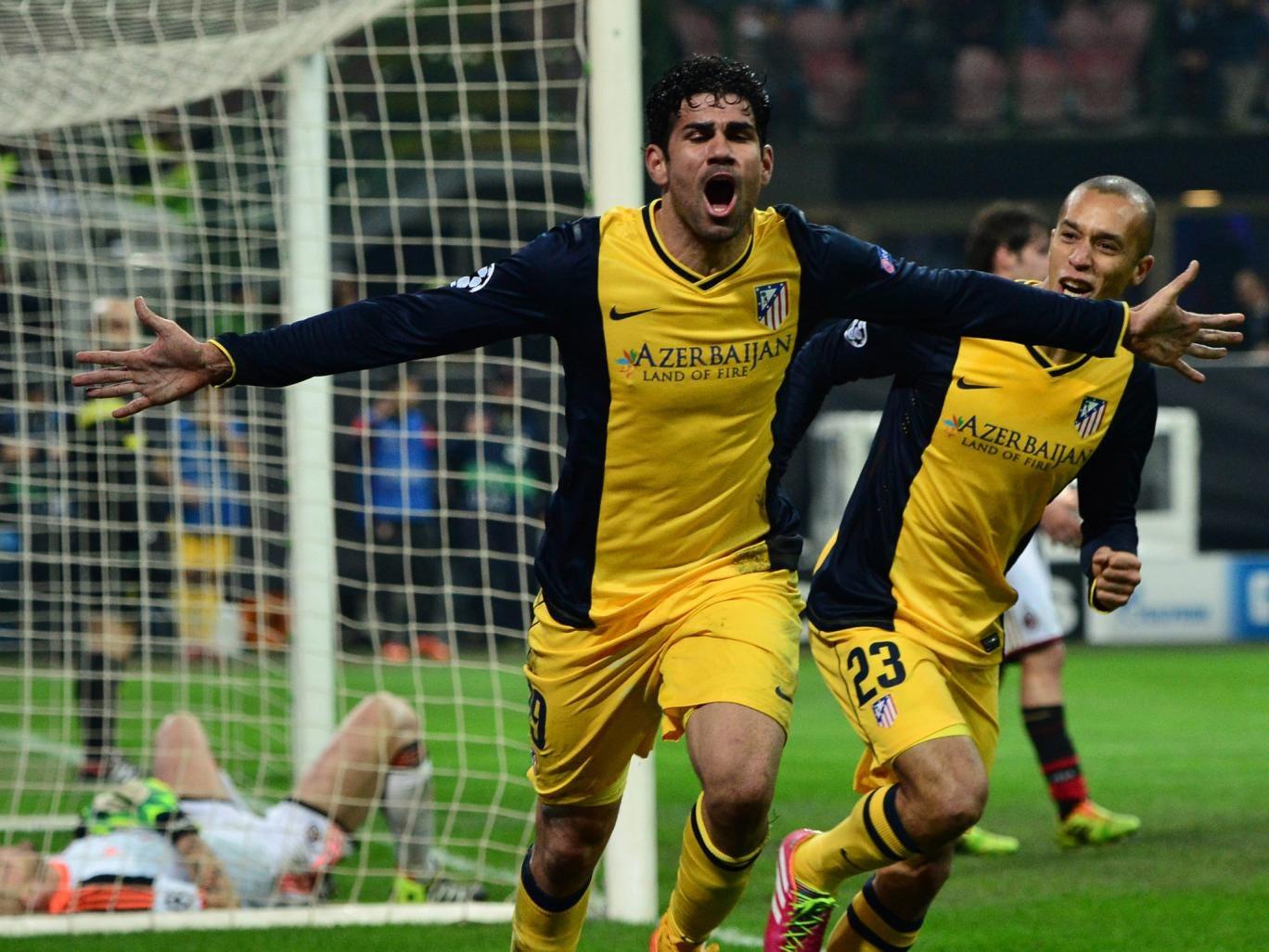 Diego Costa of Altetico Madrid celebrates scoring a Champions League goal against AC Milan