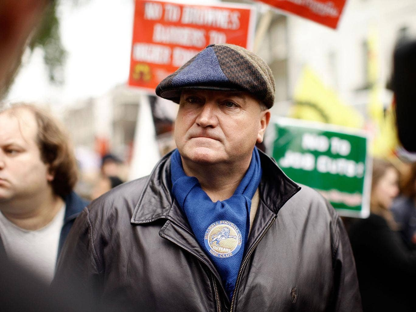 Bob Crow, General Secretary of the RMT union, attends with other activists and demonstrators a rally at Bedford Square to protest against government spending cuts in central London