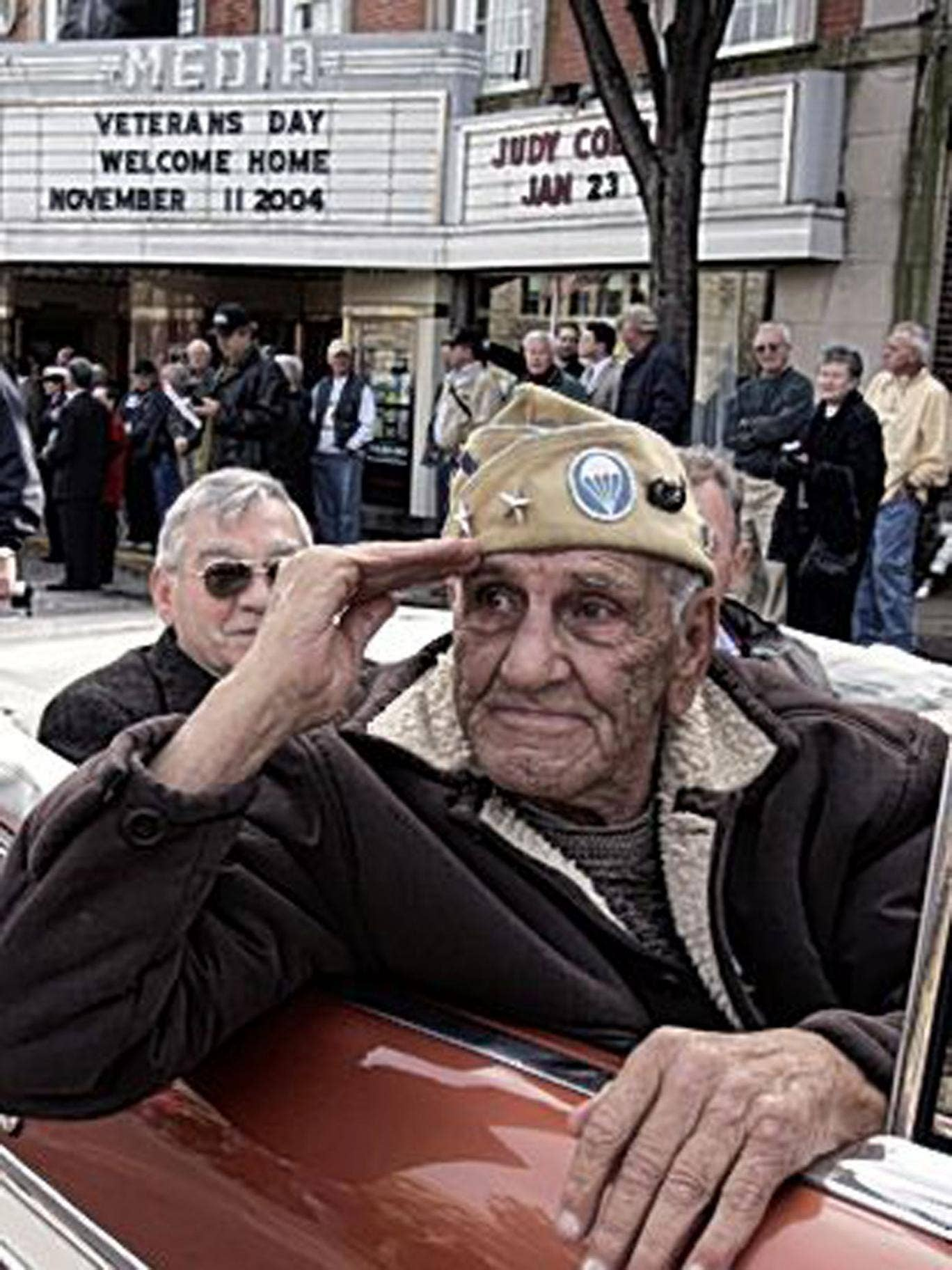 Guarnere takes part in a Veterans Day parade in Media, Pennsylvania in 2004