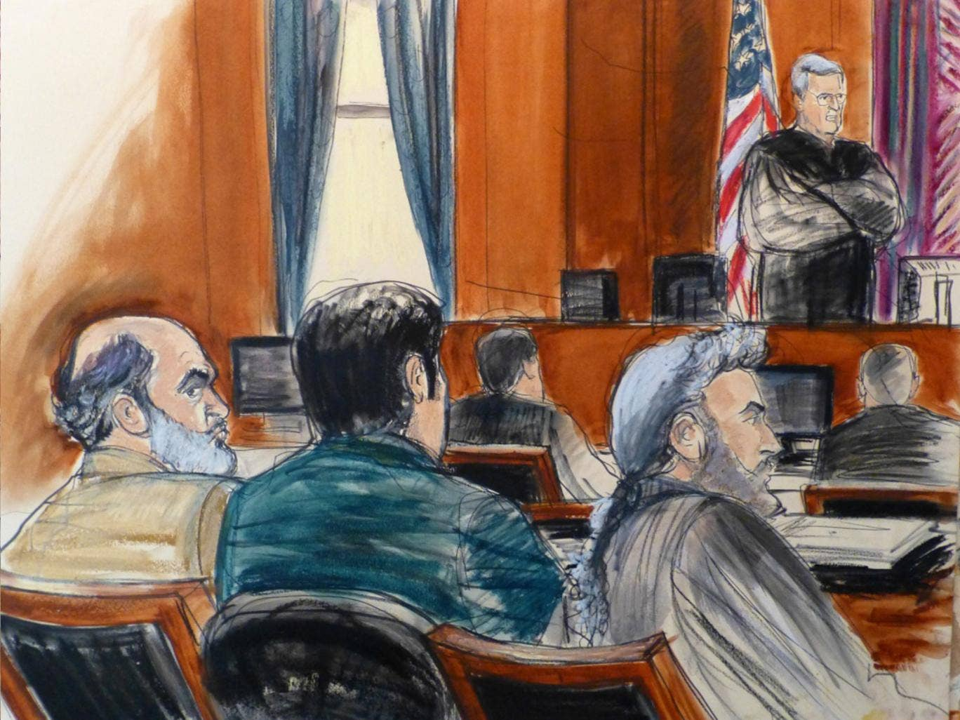 A courtroom sketch depicts the trial of Sulaiman Abu Ghaith in New York