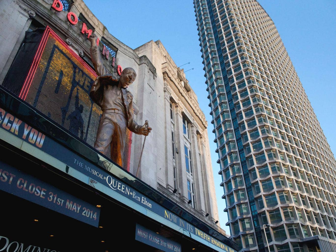 Freddie Mercury of rock band Queen on the front of the Dominion theatre where the show 'We will rock you' plays in London
