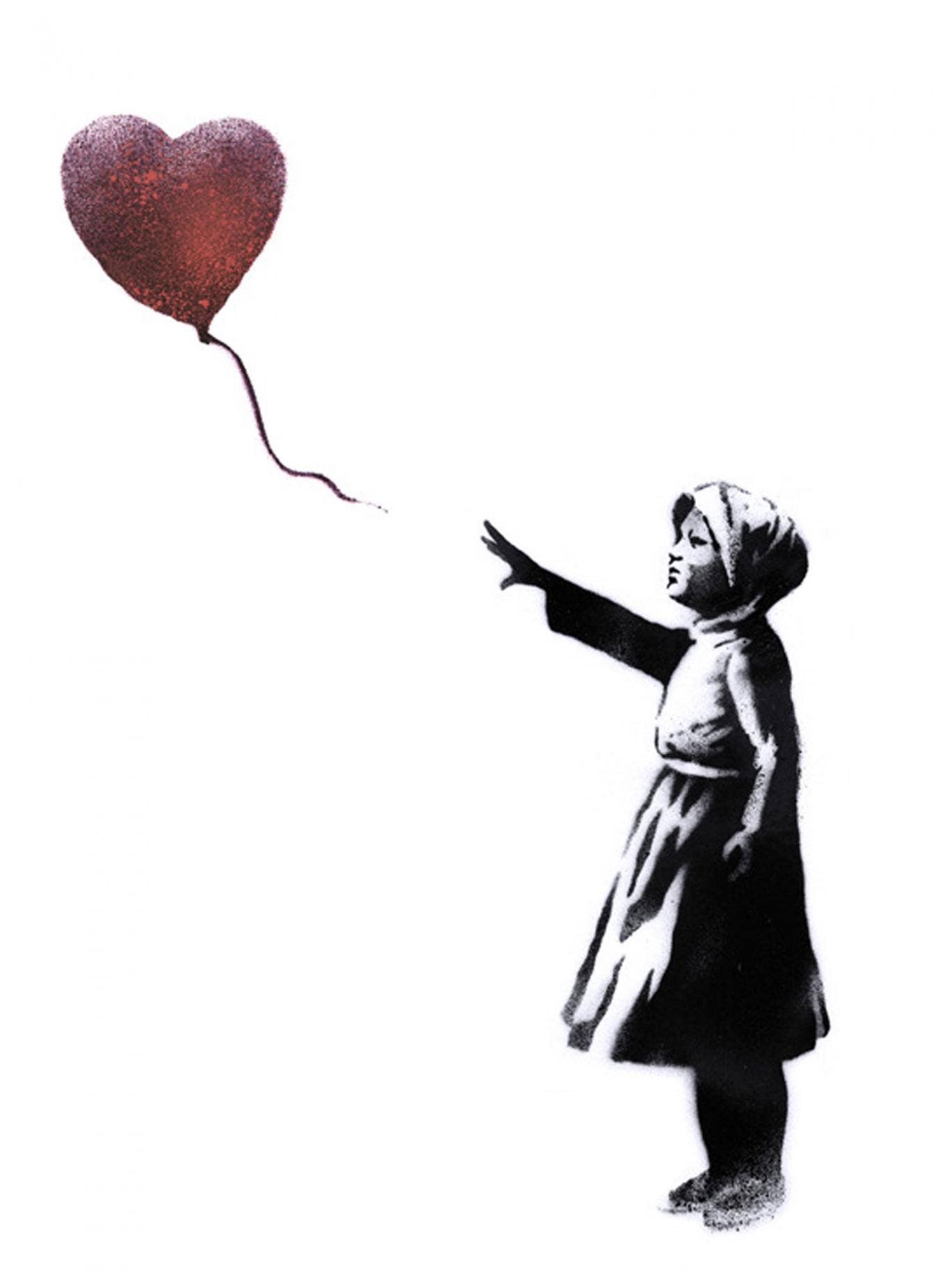 Banksy has reworked his girl with heart balloon stencil to mark the third anniversary of the start of the Syria conflict