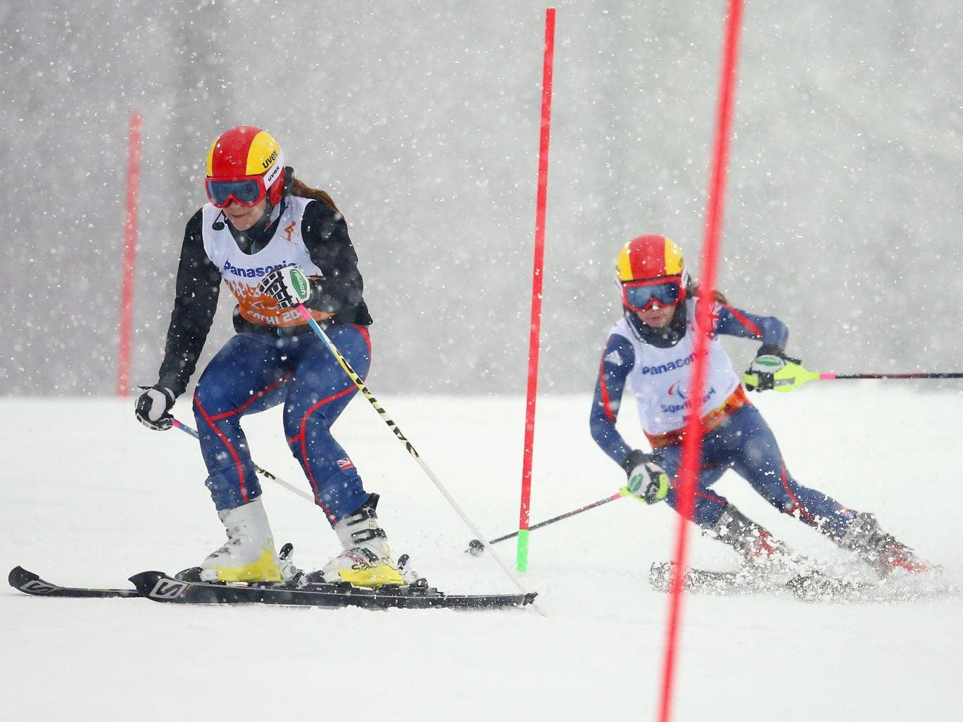 Great Britain's Jade Etherington and guide Caroline Powell on their way to slalom silver