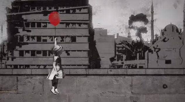 Banksy has recreated one of his most famous artworks for the #WithSyria campaign