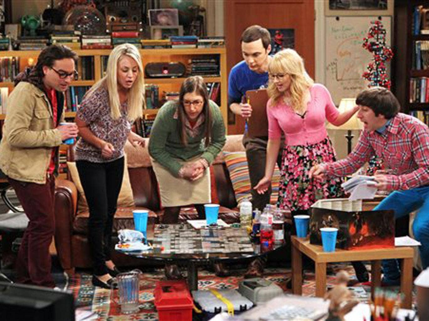 The cast of The Big Bang Theory in a still from the show