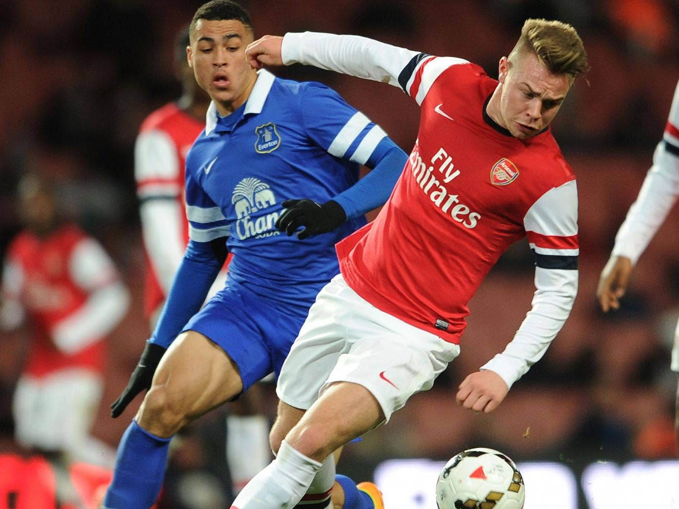 Jack Jebb (right) fends off Everton's Courtney Duffus during Arsenal's 3-1 FA Youth Cup quarter-final win at the Emirates Stadium