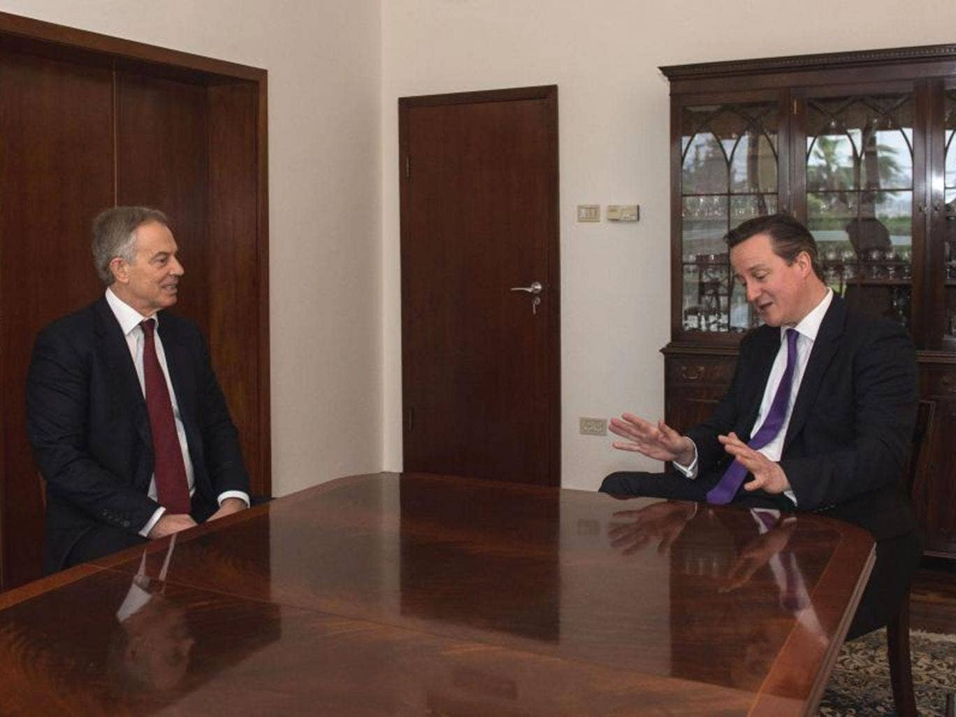 "Prime Minister David Cameron meets with predecessor as prime minister, Tony Blair, in his role as peace envoy of ""the Quartet"" of the United Nations, the EU, the US and Russia, at the British Consulate in Jerusalem, on the second day of a trip to the Midd"