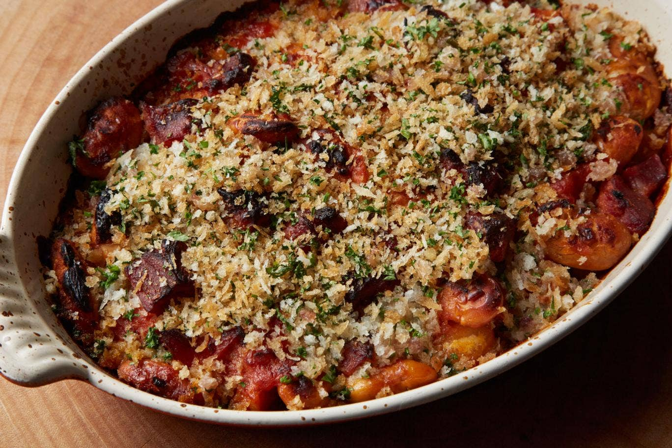 Baked butter beans with smoked ham hock