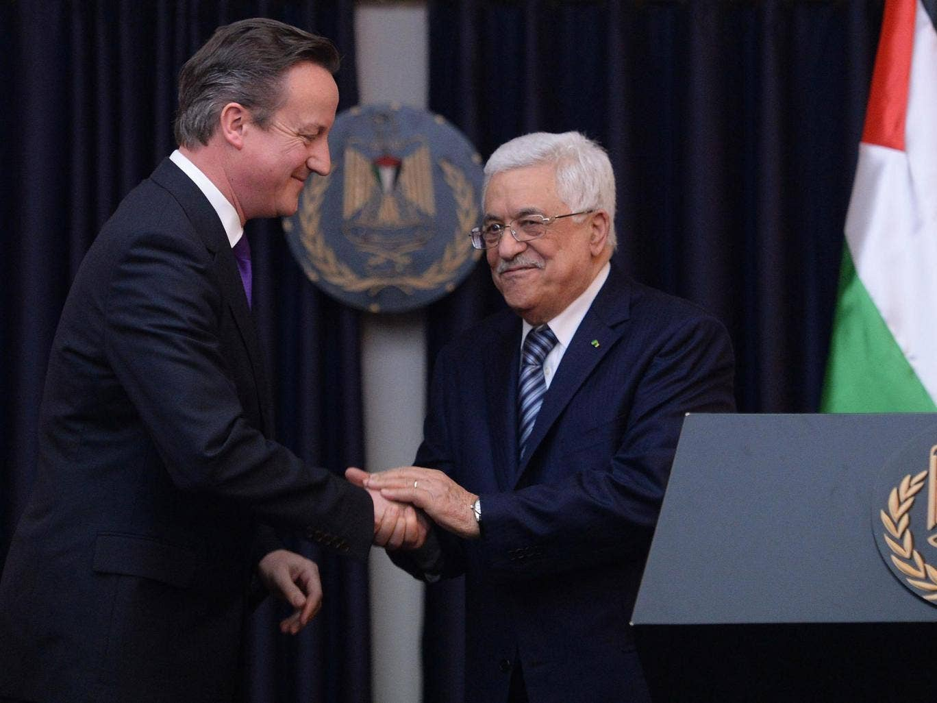 Prime Minister David Cameron holds a news conference with Palestinian president Mahmoud Abbas