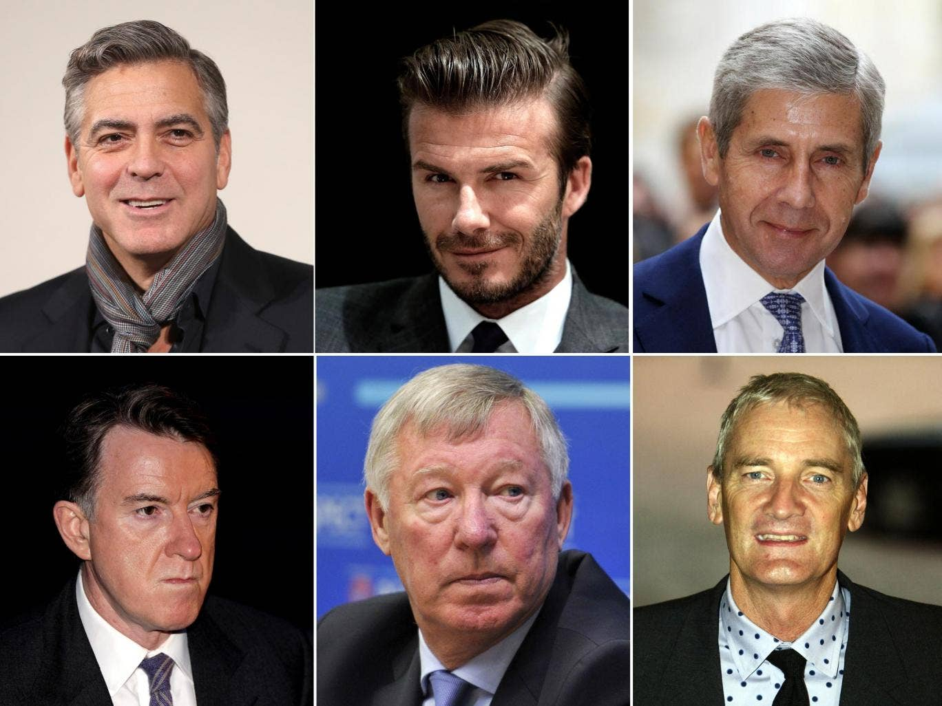 Top row: George Clooney, David Beckham and Sir Stuart Rose are all charming but (bottom row) Peter Mandelson, Alex Ferguson and James Dyson could do with a spell at charm school