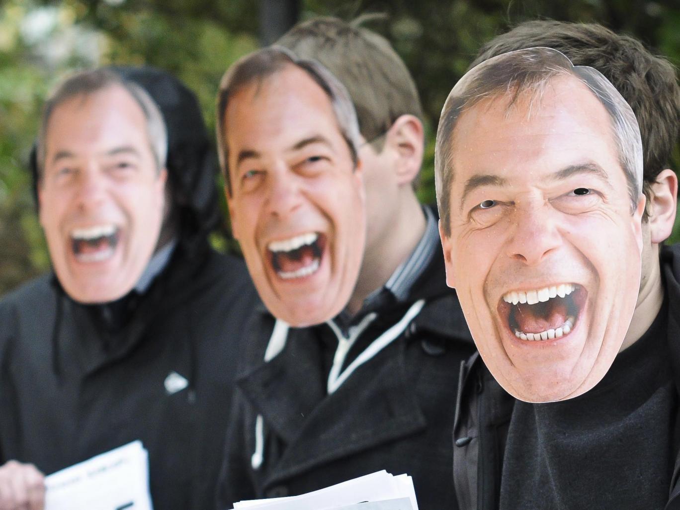Nigel Farage masks worn at the spring conference