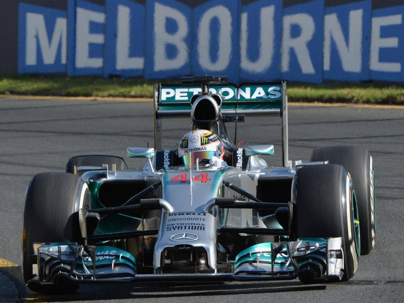 Mercedes driver Lewis Hamilton of Britain powers through a corner during the second practice session of the Australian Grand Prix in Melbourne