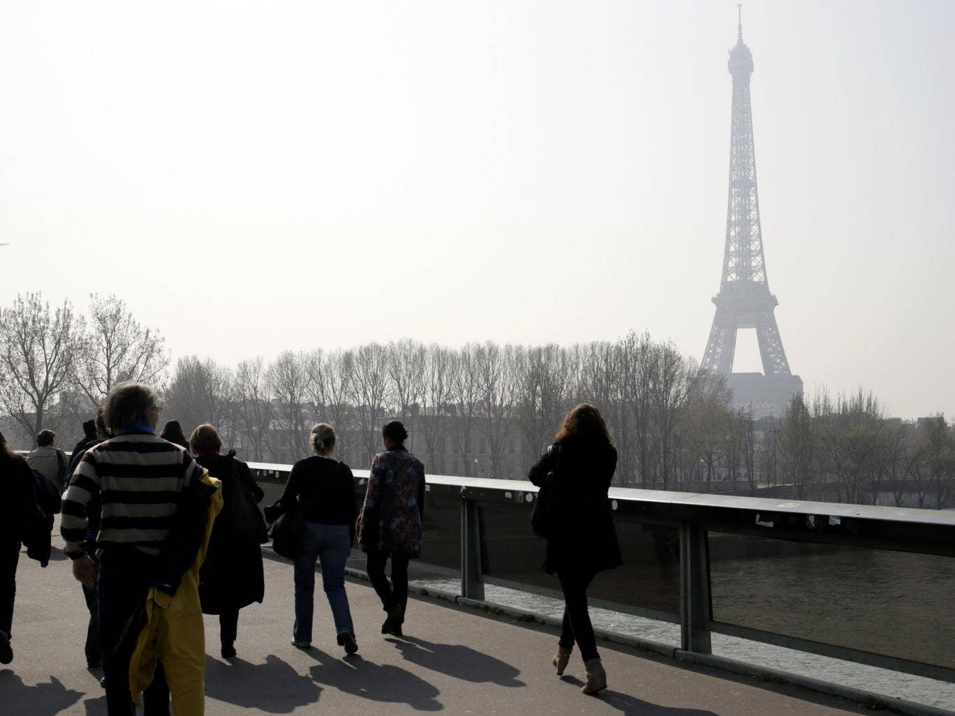 A picture taken on 14 March 2014 shows the Eiffel tower in central Paris through a haze of pollution. More than 30 departments in France have been hit by maximum level pollution alerts