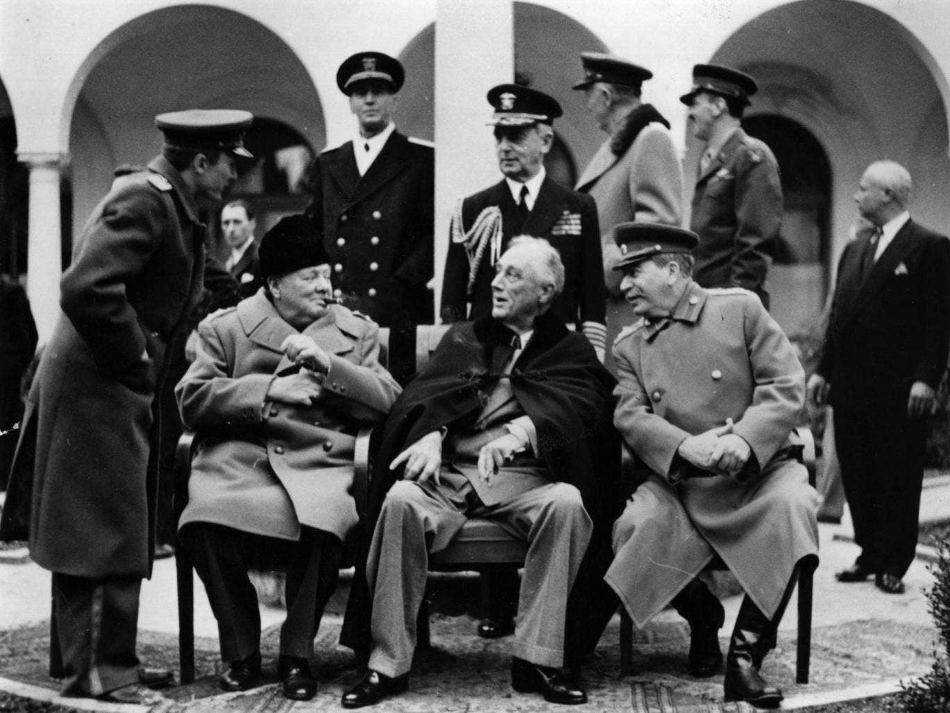 In the grounds of the Livadia Palace, Yalta, during the Three Power Conference the British wartime Prime Minister Sir Winston Leonard Spencer