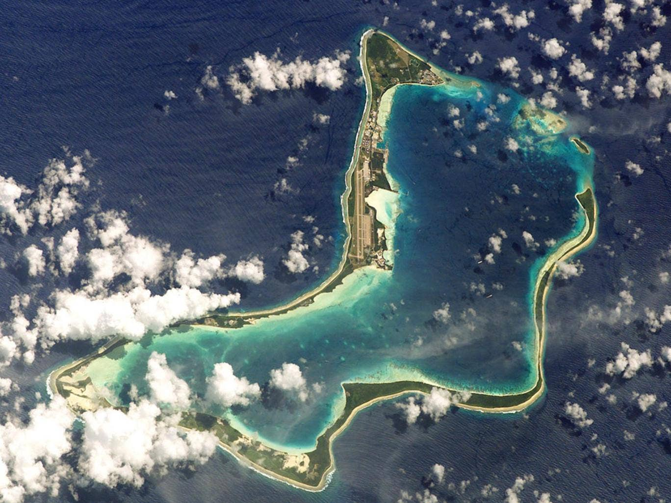 The British-owned Diego Garcia, where the American military poured hundreds of tonnes of human sewage