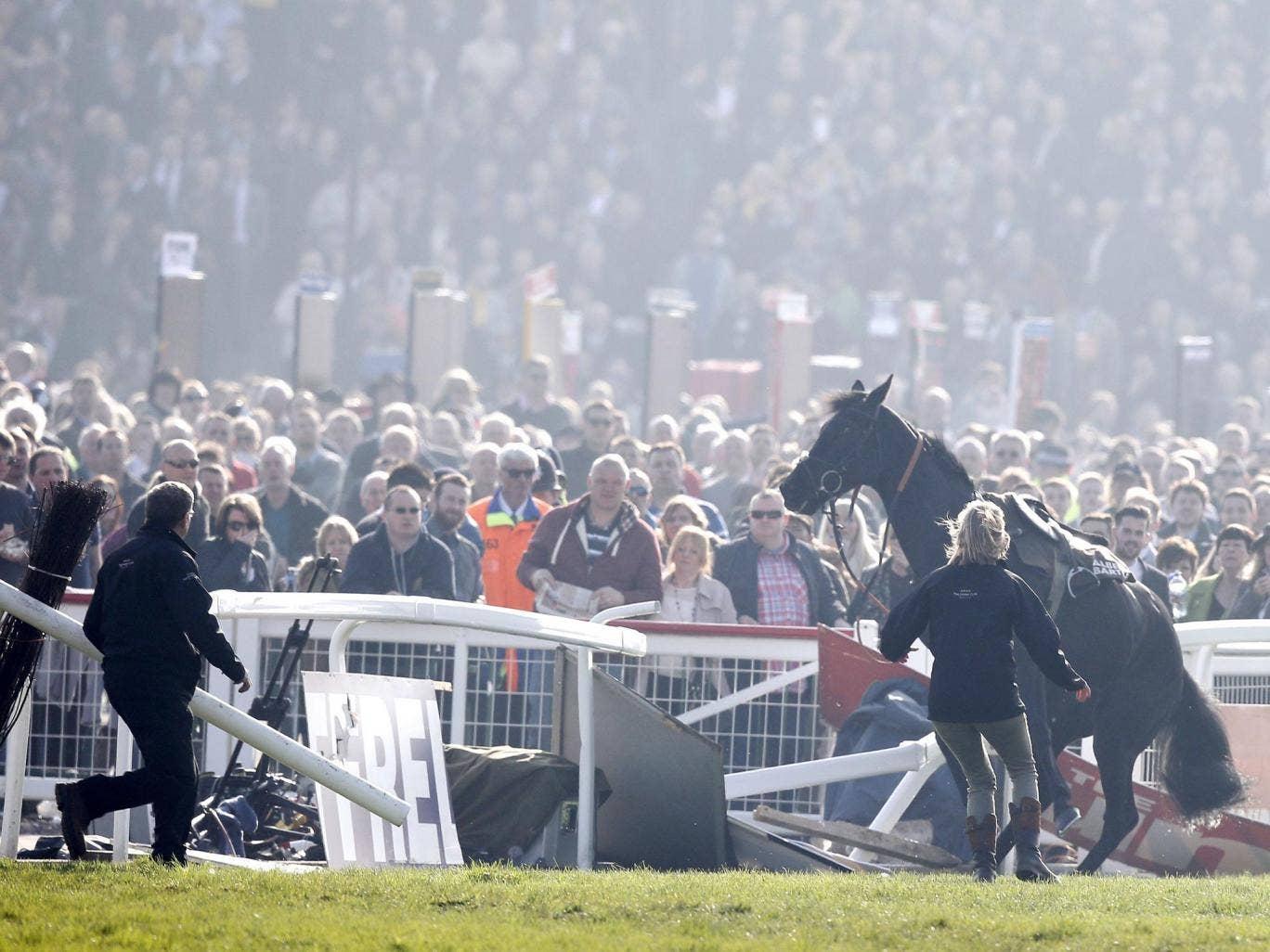 Daryl Jacob was taken to hospital after being thrown through the rails by Port Melon