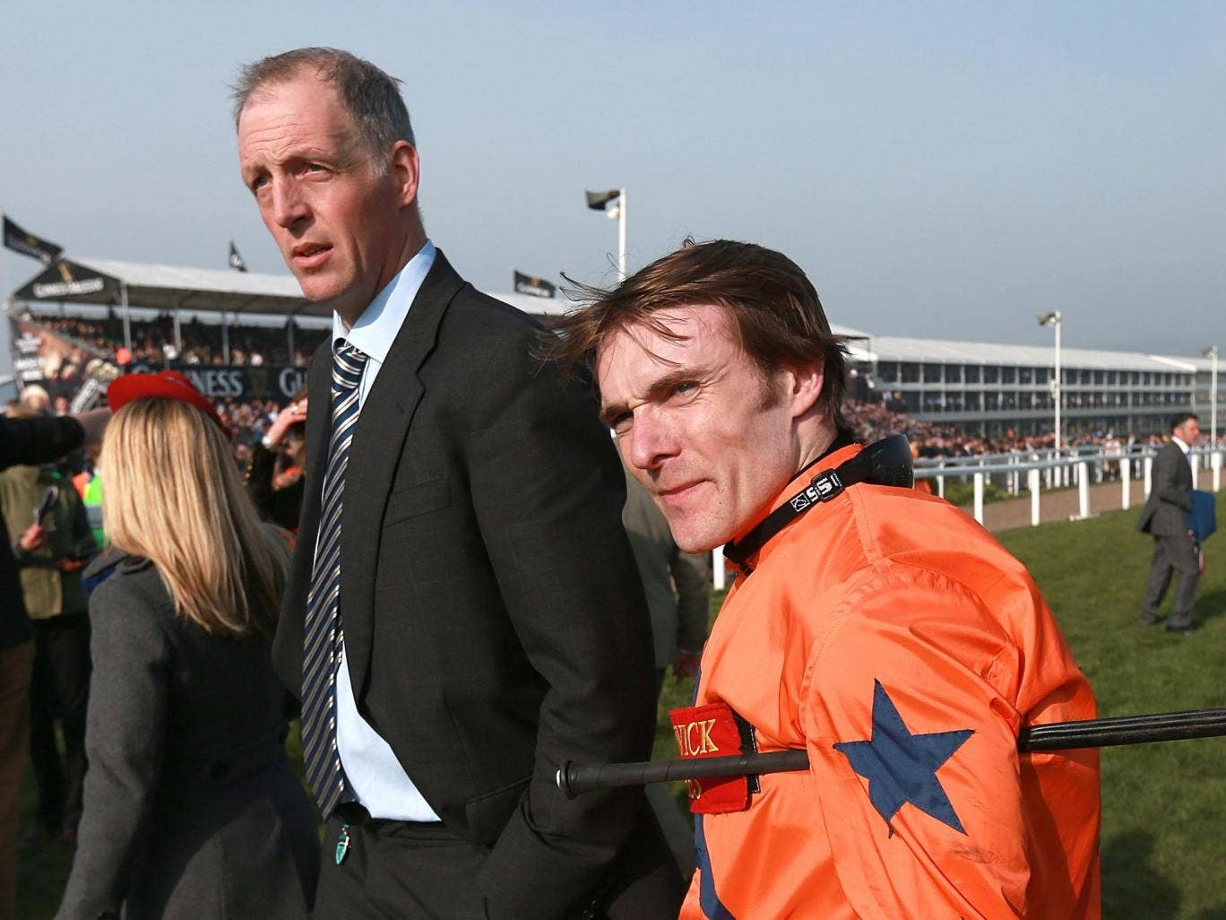 Tom Scudamore (right) rode three winners this week for trainer David Pipe