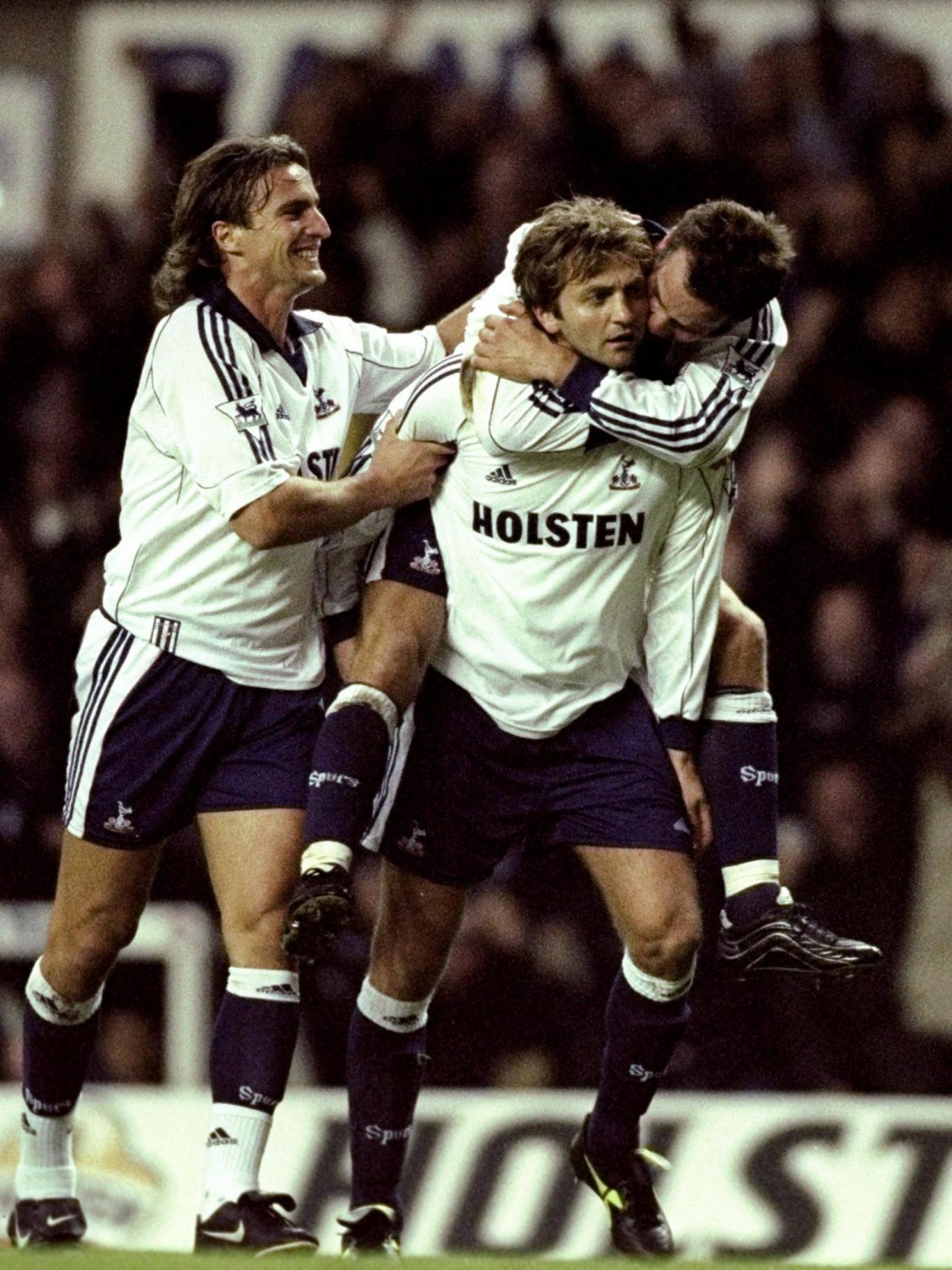 Tim Sherwood celebrates scoring for Spurs in a fiery derby win over Arsenal in 1999