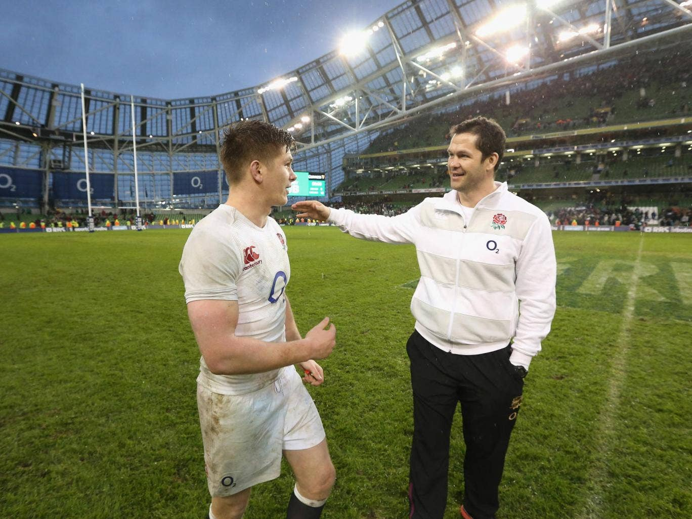 Andy Farrell (right) is a big figure in the England coaching team and son Owen provides the same commitment on the pitch