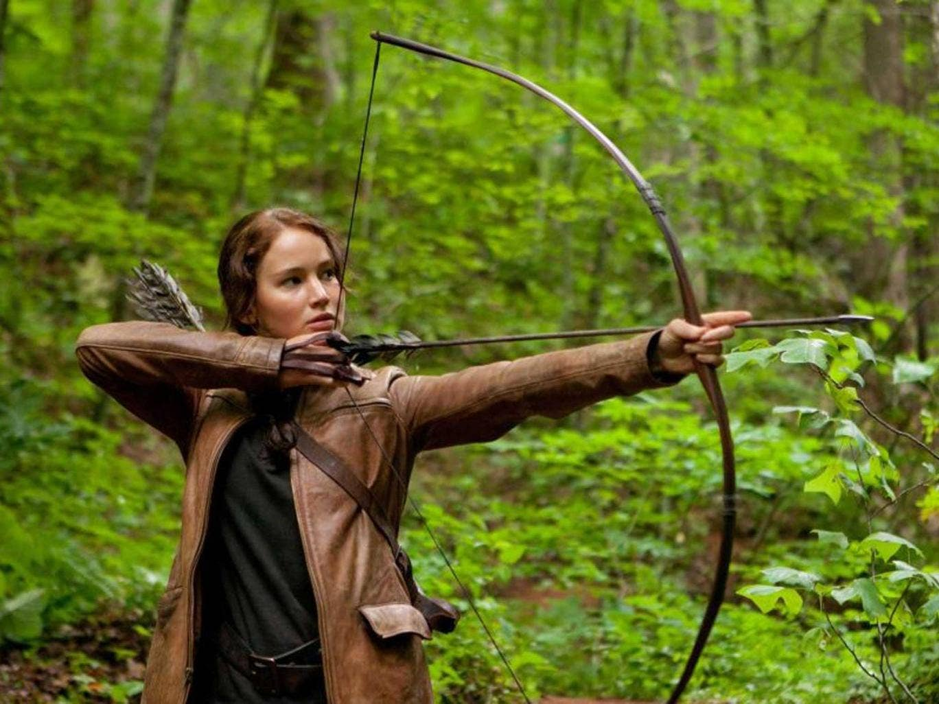 Jennifer Lawrence as Katniss Everdeen in The Hunger Games in one of few female protagonists in Hollywood