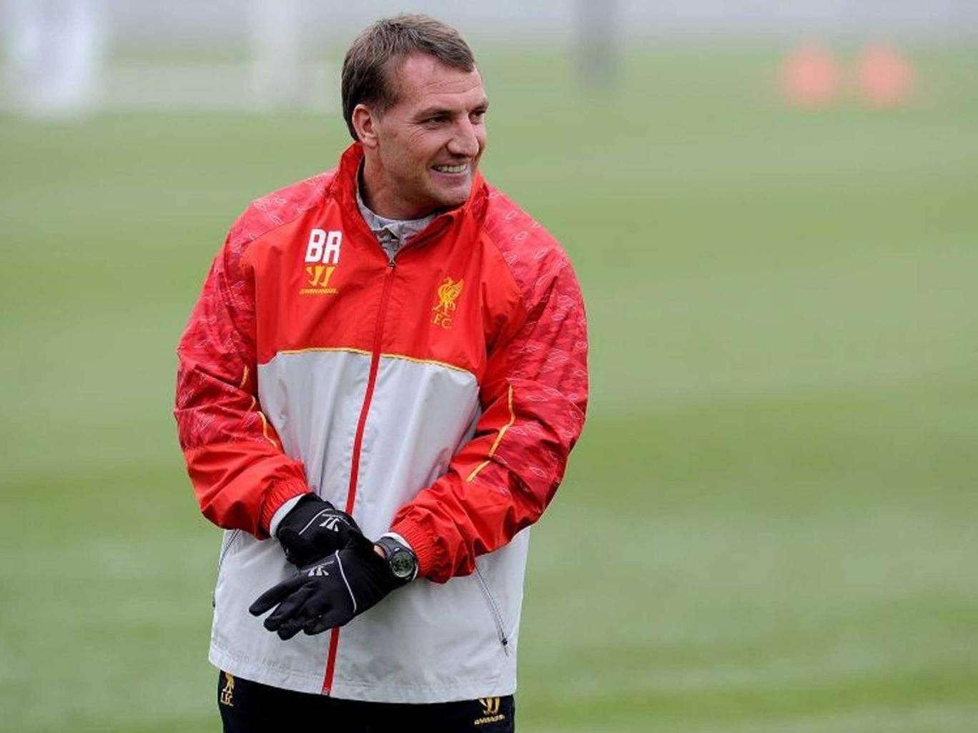 Brendan Rodgers during a training session at Melwood Training Ground