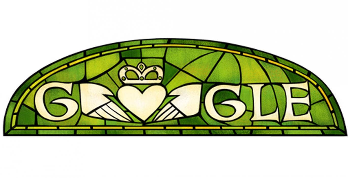 17 March: Google marked the Irish national holiday of St Patrick's Day with a very saintly green stained-glass Doodle