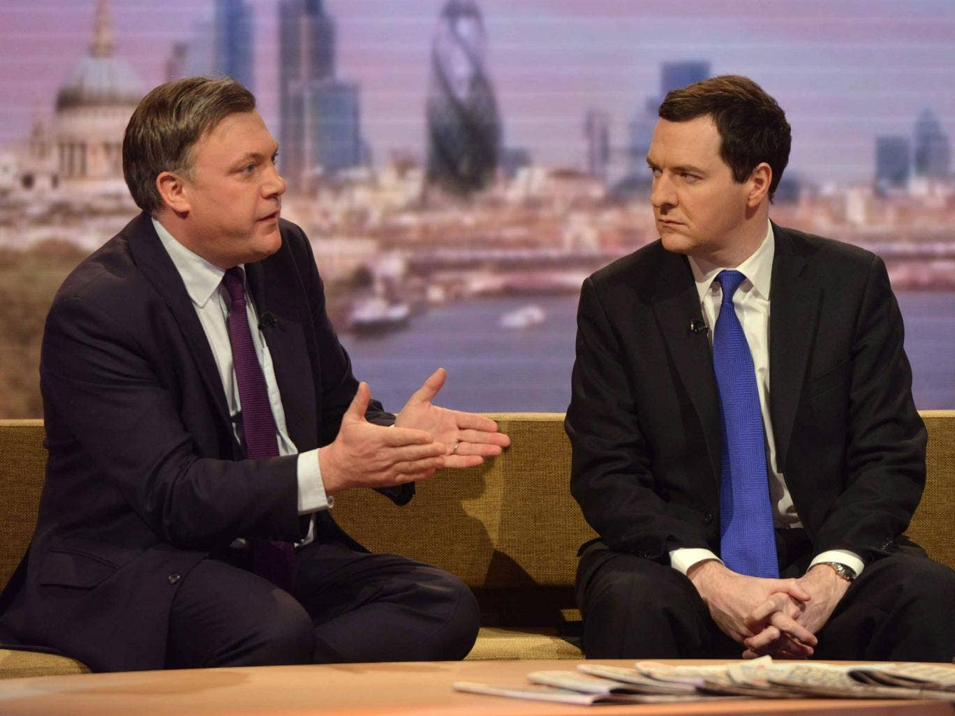 Shadow Chancellor Ed Balls and Chancellor George Osborne appear on the Andrew Marr Show