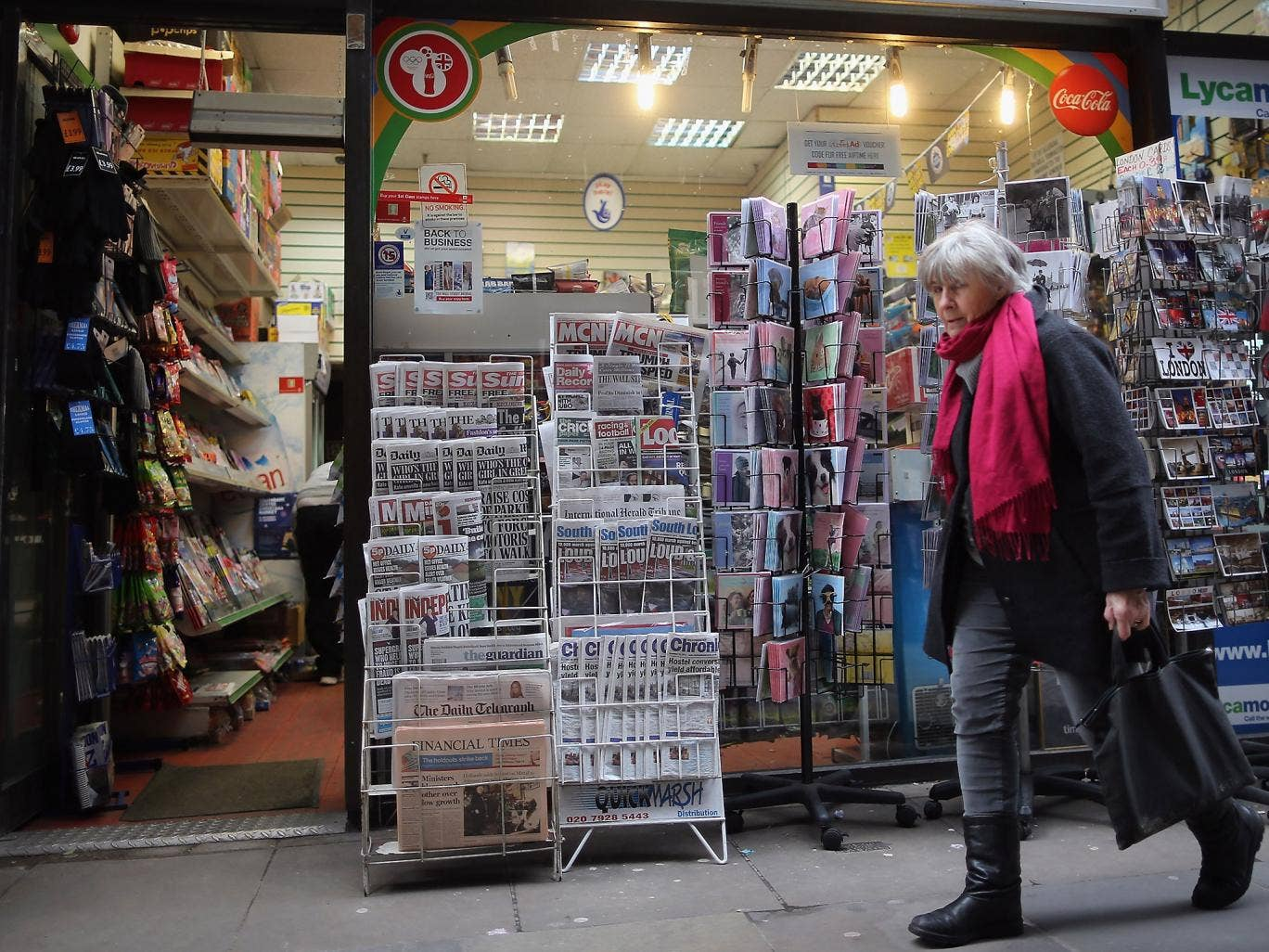 A London newsagents: tighter regulation planned for British press 'poses worldwide threat' says the World Association of Newspapers and News Publishers