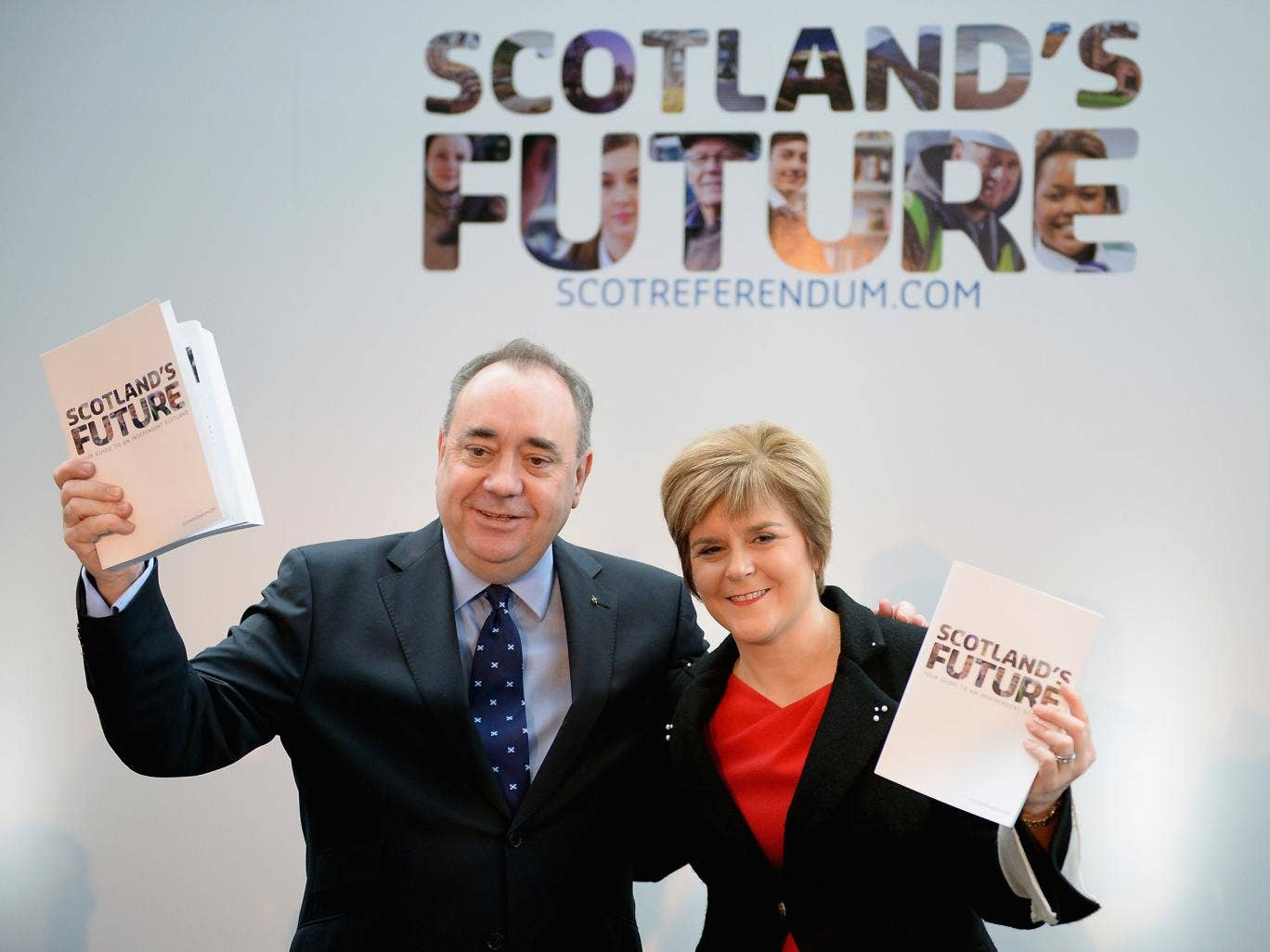 Alex Salmond  and Deputy First Minister Nicola Sturgeon present the White Paper for Scottish independence in November 2013 in Glasgow