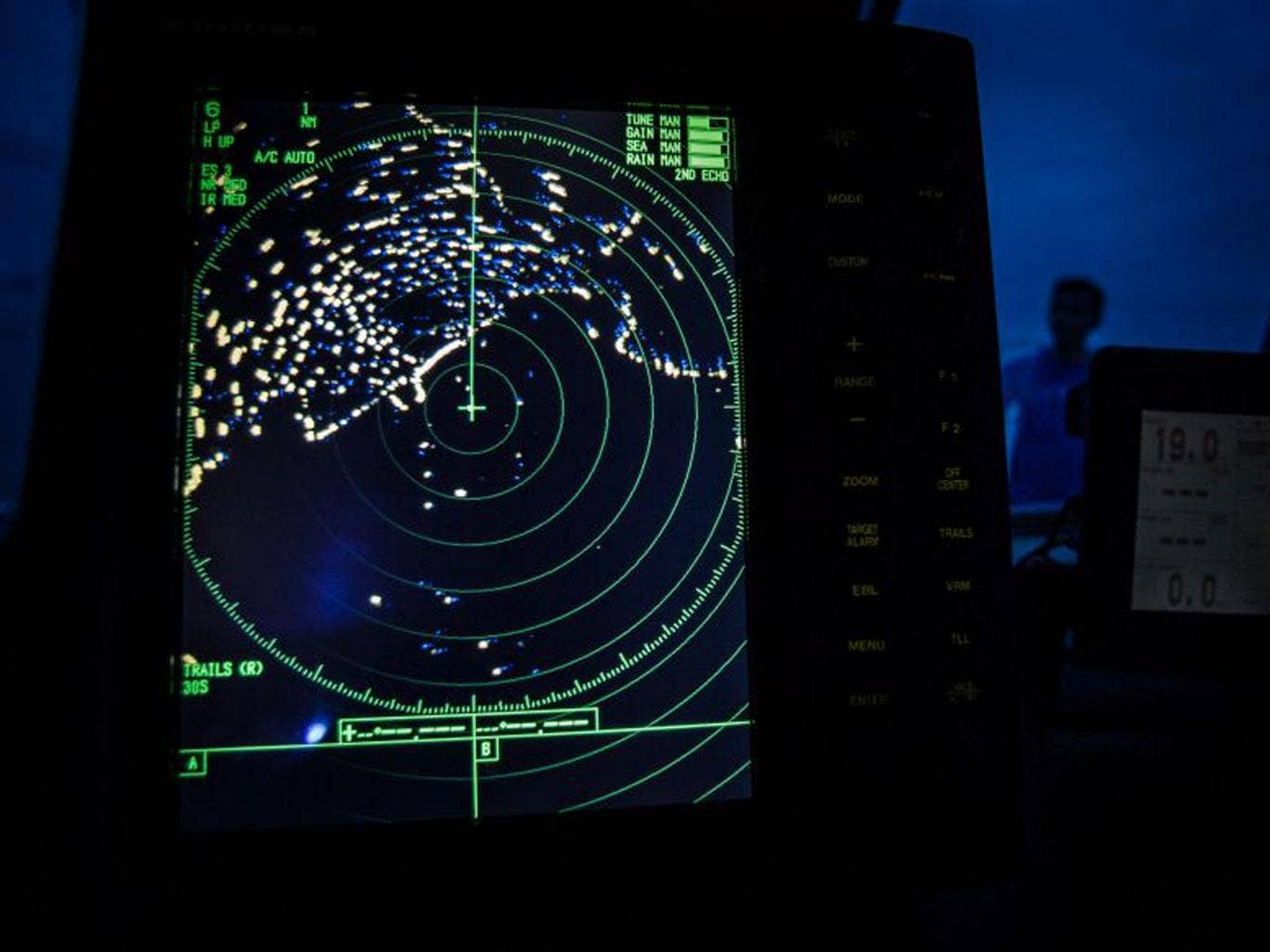 A navigational radar on Indonesia's National Search and Rescue boat shows details during a search in the Andaman sea
