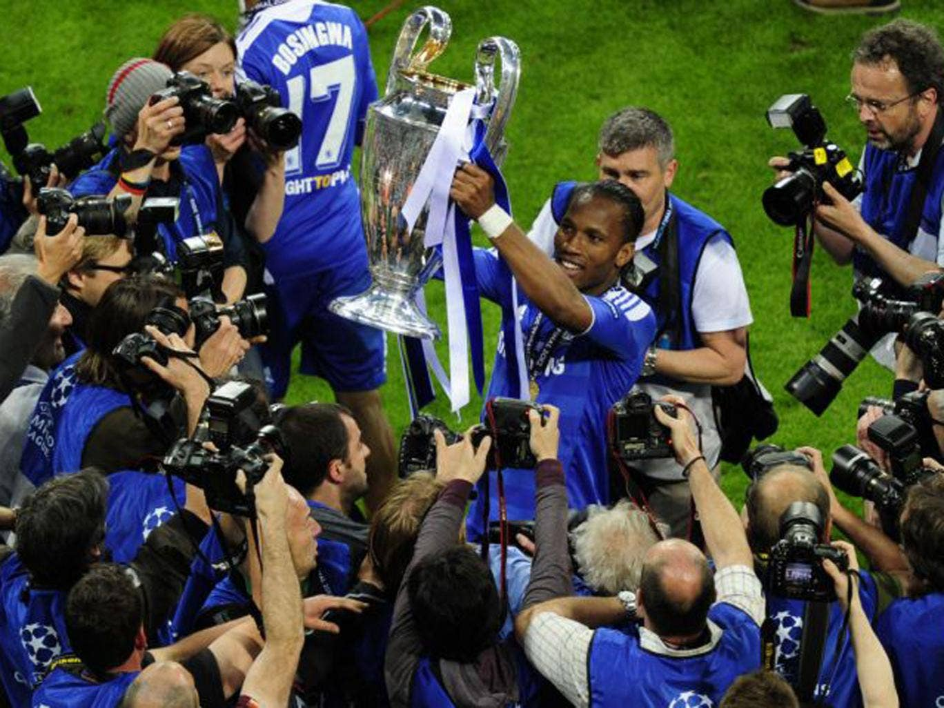 Didier Drogba holds aloft the European Cup after Chelsea's triumph in 2012