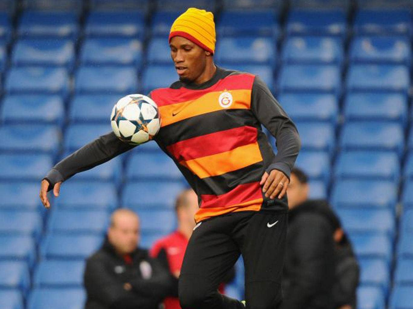 Galatasaray's Didier Drogba trains at Stamford Bridge yesterday
