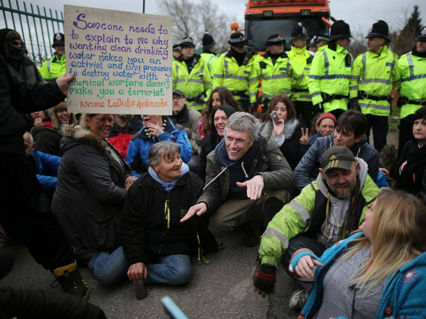 Happy Mondays star Bez joins protesters blocking lorries trying to enter the Igas fracking exploration site at Barton Moss in Salford yesterday.  Bez, real name Mark Berry, intends to stand for Parliament next year for the Salford seat.