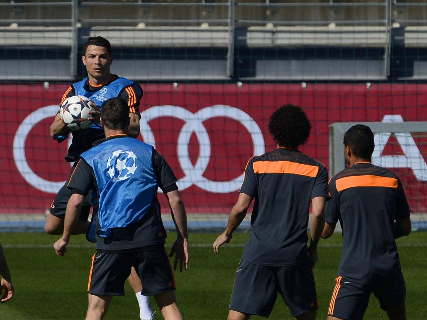 Cristiano Ronaldo pictured training for Real Madrid prior to his team's game against Schalke