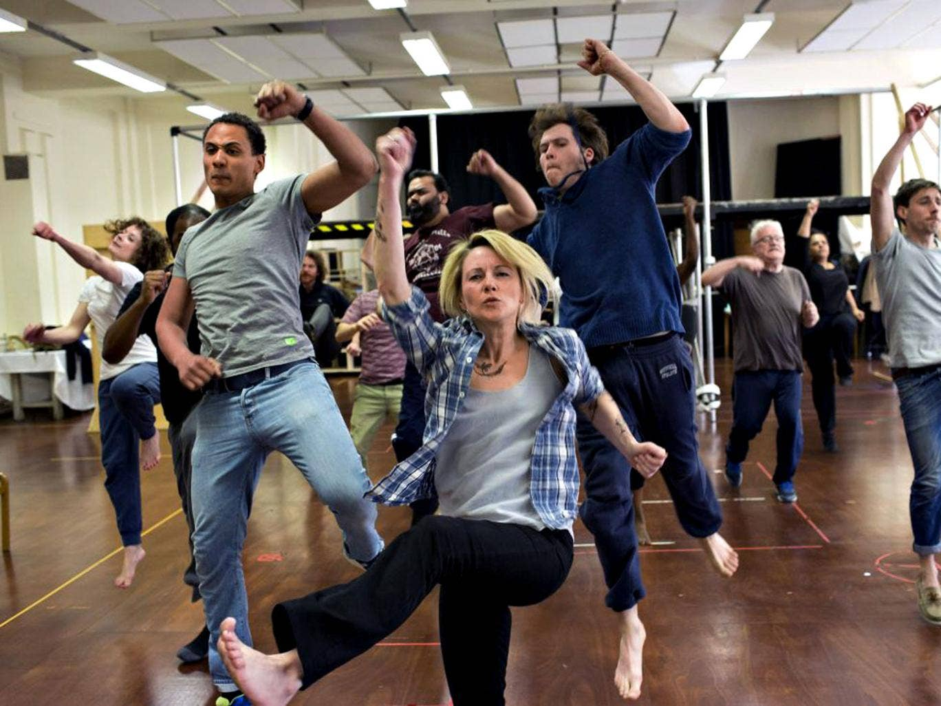 Getting her kicks: Lisa Dillon in rehearsals for 'The Roaring Girl'
