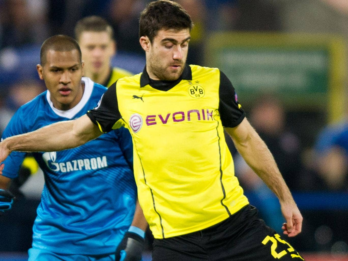 Sokratis Papastathopoulos (right) in action for Borussia Dortmund