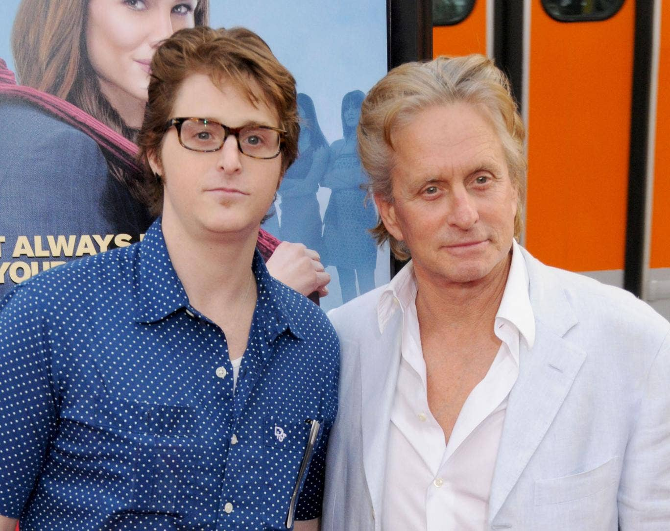 Michael Douglas and his son Cameron (left) at the Ghosts of Girlfriends Past world premiere in 2009