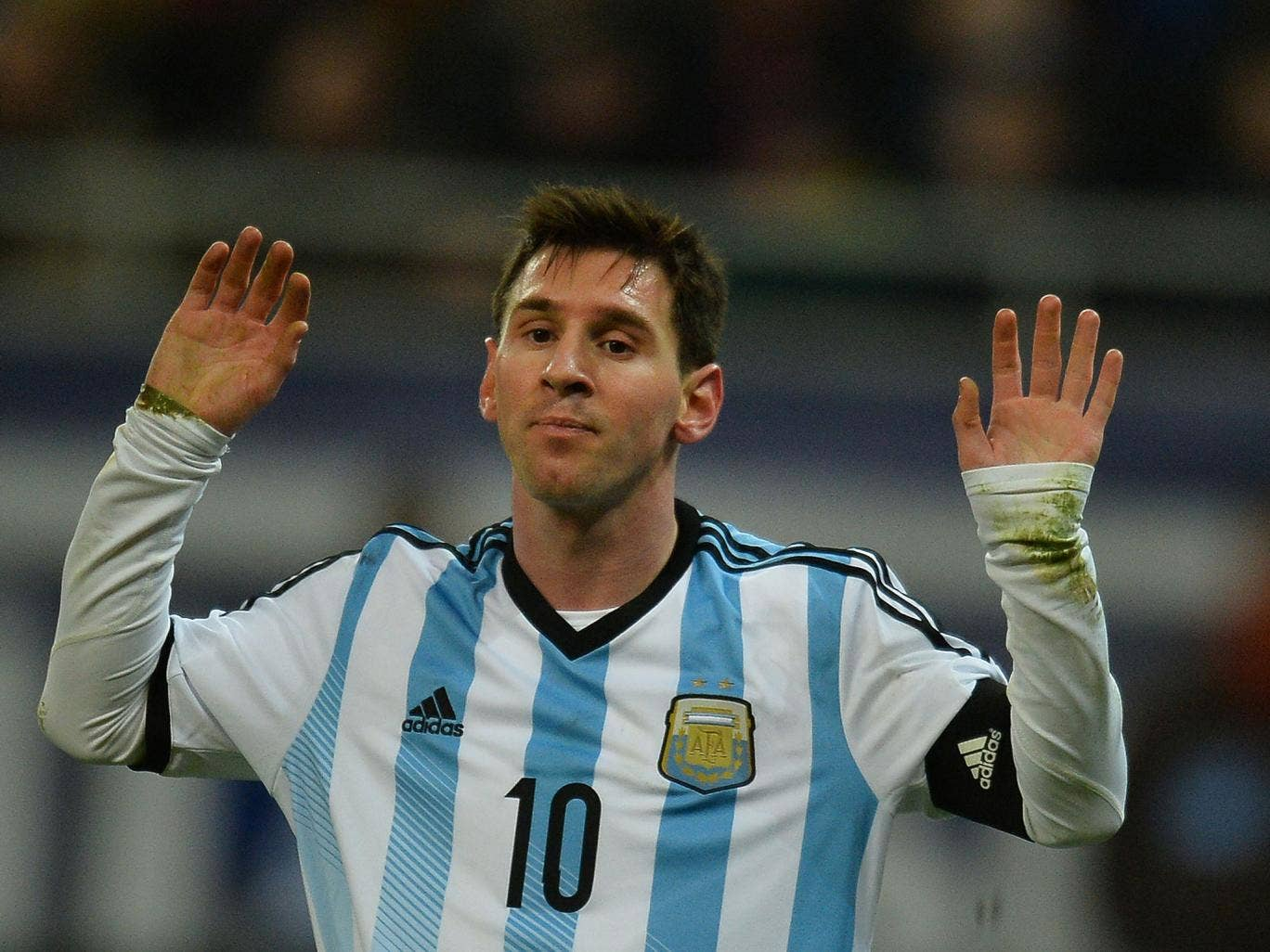 Lionel Messi of Argentina reacts during the International friendly