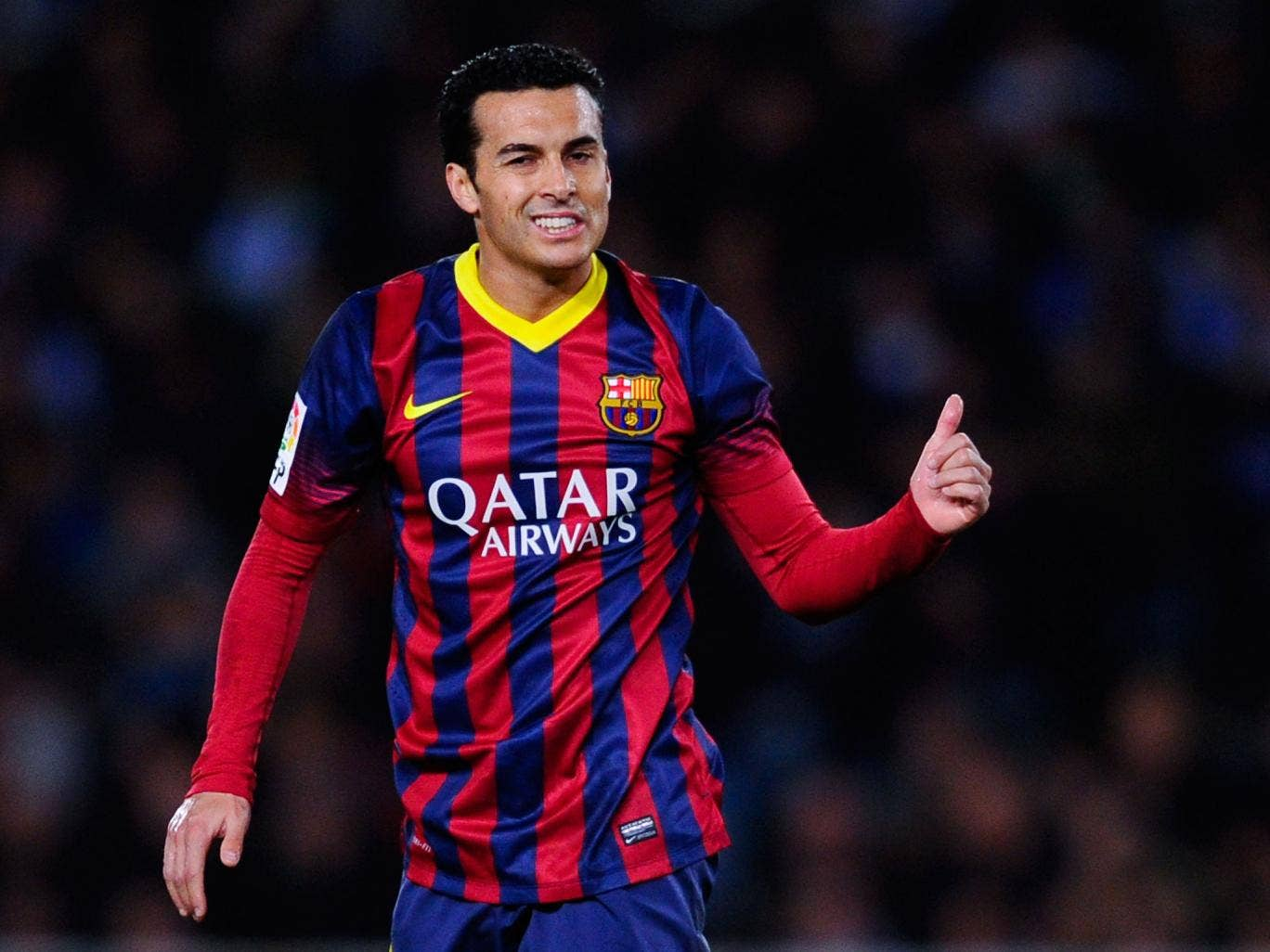 Pedro Rodriguez of FC Barcelona gives his thumbs up
