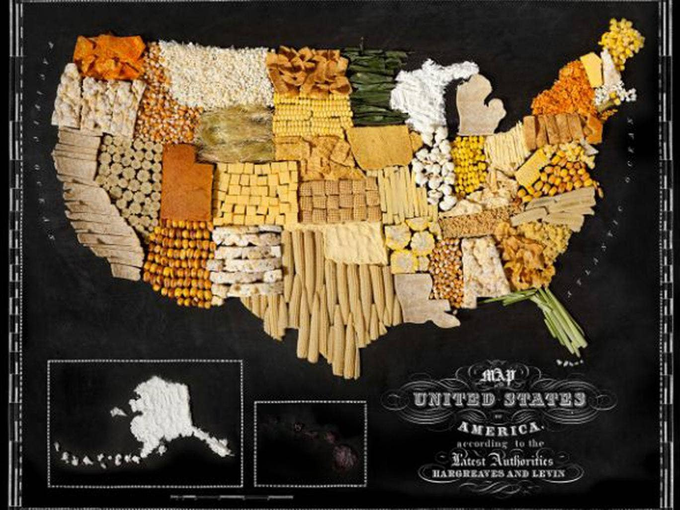 The fifty states of the USA are mapped out in corn