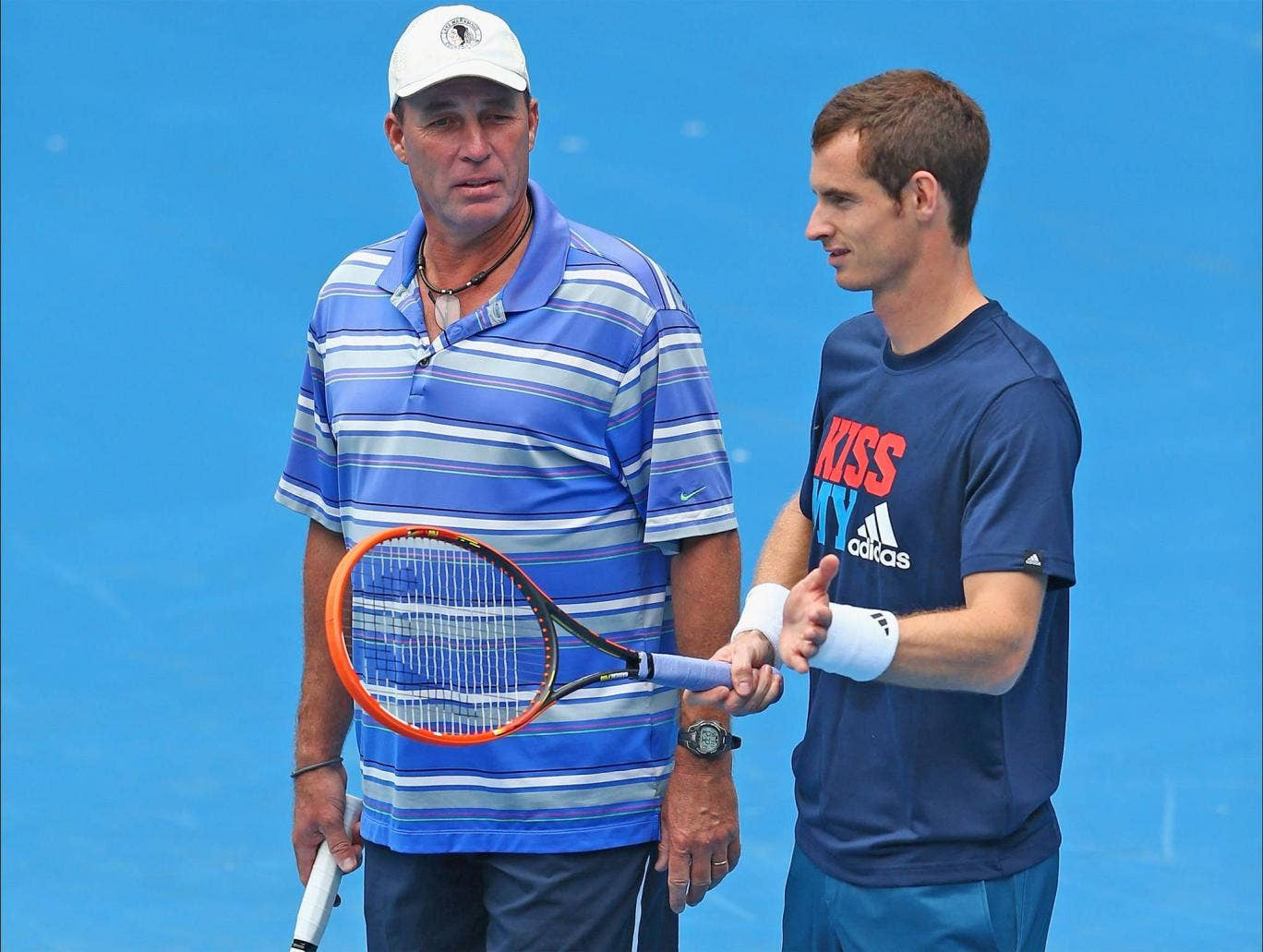 Andy Murray and Ivan Lendl confer during practice before this year's Australian Open